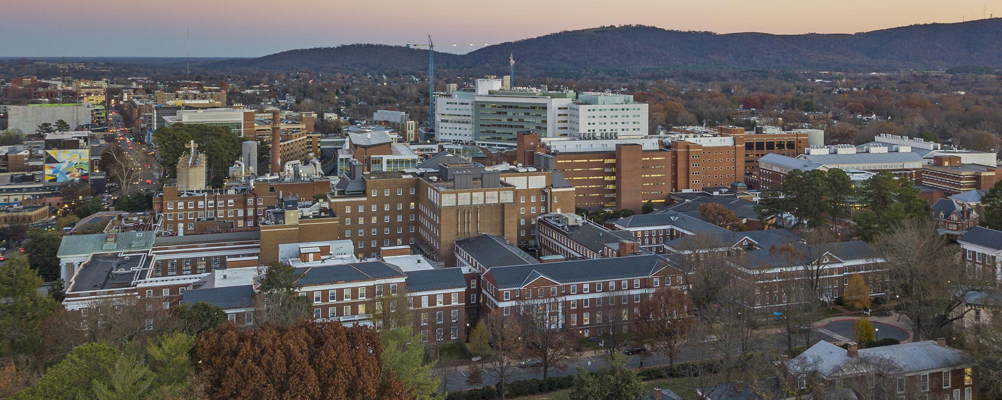Aerial view of UVA Health System Buildings